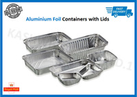 100 x Aluminium Foil Hot Food Containers Box + Lids Home Takeaway - ALL SIZES