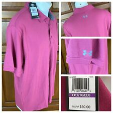 Nwt Under Armour Heat Gear Polo Shirt Mens 2Xl Burgundy Loose Fit 1319027 601