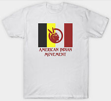 AMERICAN INDIAN MOVEMENT T SHIRT FLAG NATIVE AMERICANS TRIBAL TRIBE