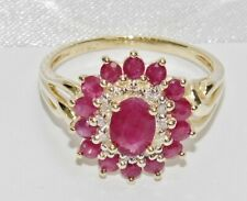 9ct Gold Ruby & Diamond Large Cluster / Cocktail Ring size R