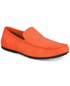 Alfani Men Moc Toe Driving Loafers Kendric Orange Textured Suede