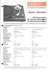 Nordmende Service Manual für RP 1050 / RP 1100 mit ET-Listen
