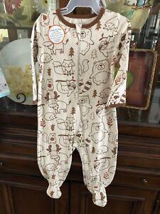 NWT Wonder Nation Baby Boy Cotton Inverted Zipper Sleep 'N Play Woodland 6-9 M