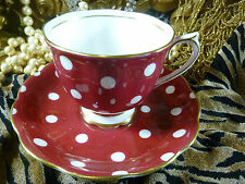 ROYAL ALBERT CUP AND SAUCER DEEP RED / WHITE POLKA DOT STUNNING VINTAGE GEM