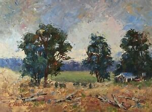 "Original Oil Painting Signed Australian Dandenongs Artist Enoch Hlisic 6 x 8"""