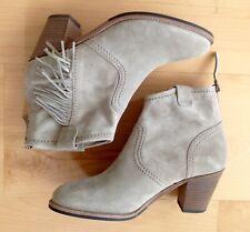 KENNEL SCHMENGER Leder-Stiefeletten taupe grau-beige Fransen boots dt.38 UK5 NEU