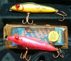 """LOT of Two Used Vintage Mirrolure 4-3/4"""" TOP DOG Surface Walker Floating Lures"""