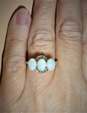 NATURAL COOBER PEDY OPAL & ALEXANDRITE 10K YELLOW GOLD RING SIZE 7
