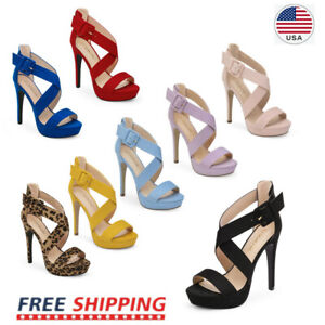 Women's Open Toe High Heel Sandals Stilettos Wedding Party Dress Sandals Shoes