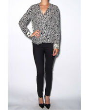 Derek Lam 10 Crosby Silk Animal Print Drape Front Top Blouse 8 NWT $365