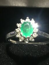 Beautiful White gold emerald cut diamond Engagement ring