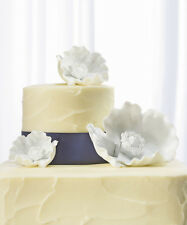 Poppy Blooms White Porcelain Bisque Floral Wedding Cake Topper