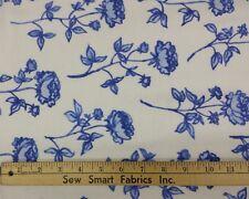 "100% Cotton Flannel: Ink Blue Flowers on White, 68"" W, 3 yd. Piece"