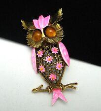 Vintage ART Owl Brooch Pin Pink Enamel Openwork Dark Goldtone