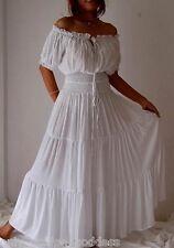 white dress peasant smocked ruffled S M L XL 1X 2X 3X 4X 5X 6X PLUS ONE SIZE
