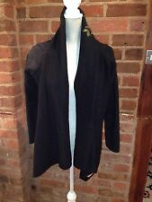 Top Shop 'Lulu & Red' Black Fleece Waterfall Jacket Cropped Back Size 10