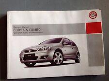 Vauxhall Corsa & Combo Operation, Safety And Maintainance Handbook