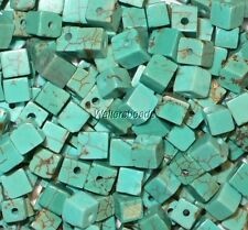 Cute! Turquoise Natural Gem Stone Cube Beads Stabilized Light Blue 4 MM (30)