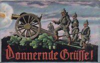 uralte AK, Donnernde Grüsse!, Soldaten mit Kanone, gezeichnet als Feldpost