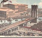 Brooklyn Bridge 1880's New York City Elevated Railroad Baking Powder Trade Card