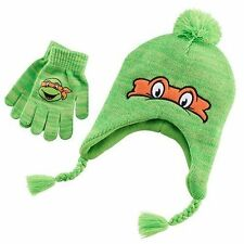 NEW Teenage Mutant Ninja Turtles Girl's Boy's Michelangelo Pom Hat & Gloves Set
