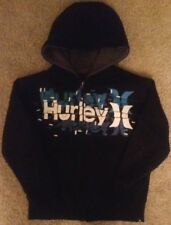 BOYS HURLEY BLUE HOODED HOODIE SHERPA ZIP UP JACKET SMALL 8 10