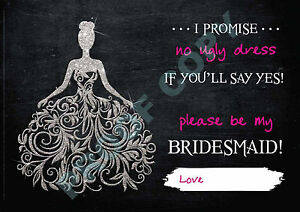 WILL YOU BE MY BRIDESMAID? CARD Pack of 4 with or without envelopes