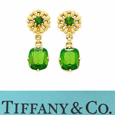 NYJEWEL Tiffany & Co. 14k Gold Green Tourmaline Screw On Earrings Ex Vanderbilt