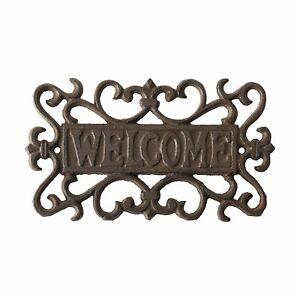 Welcome Sign Cast Iron Garden Door Gate Wall Plaque Heart Dark Brown 21 cm  New