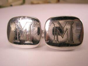 -M Monogram ENGRAVED Initial Letter Font Vintage SPEIDEL USA Cuff Links