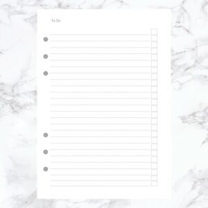 A5 PLANNER ORGANISER INSERT REFILL TO DO LIST FILOFAX COMPATIBLE 25 SHEETS 100GM