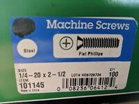 "100 Steel Pan Phillips Machine Screws 1/4 - 20 x 2 1/2"""