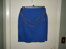 Nue Options Ladies Stretch Skirt SIze 12 Royal Blue with Gold Chain Belt NWT