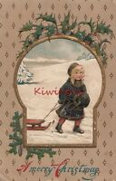 Postcard Little Girl Pulling Sled A Merry Christmas 1909