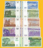 Madagascar Set 100, 200, 500, 1000, 2000 Ariary 2004-2007 UNC Banknotes