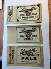 Schmidt's Beer Vintage paper labels  Jacob Schmidt Brewing St Paul, MN