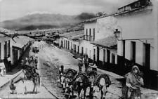RPPC Ameca, Jalisco, Mexico Street Scene Donkeys c1930s Vintage Postcard