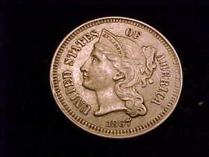 1867 Three Cent Nickel, a nice Extra Fine grade coin.