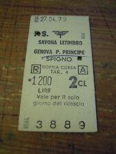 BIGLIETTO DEL TRENO CARTONATO - 1979 - SAVONA LETIMBRO GENOVA 2 CLASSE 4-232-1
