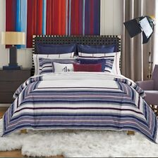New Tommy Hilfiger Sutton Stripe King Duvet Cover & Pillow Shams 3Ps Set Cotton