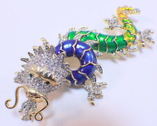 Blue And Green Chinese Inspired Dragon Rhinestone Bling Pin Brooch Broach