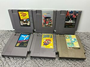 Vtg NES Nintendo Lot of 6 Video Game Cartridges Mario Bros. 3 Contra Punch Out