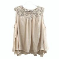Style & Co. Womens Blouse Scoop Neck Sleeveless Mesh Embroidery Beige 3X New