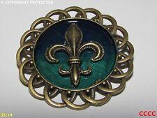 steampunk brooch badge bronze fleur de lys French heraldry monarchy lily