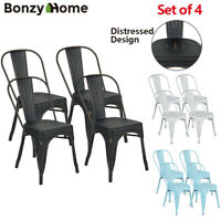Set of 4 Metal Dining Chairs Vintage Distressed Durable Stackable Side Chairs