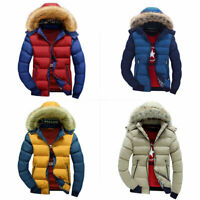 Mens Warm Up Jacket Padded Winter Overcoat Quilted Hooded Coat Zip