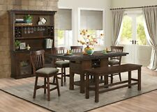COUNTER HEIGHT BURNISHED OAK DINING TABLE SWIVEL CHAIRS BENCH FURNITURE SET