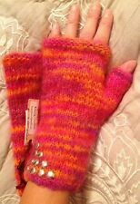 HAND KNITTED Fingerless Mittens 70% Mohair Long Cuff Studded Pink Orange NEW TAG