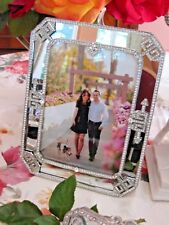 "Olivia Riegel Deco Mirror Crystal 5"" x 7"" Photo Frame  NEW! In Box!"