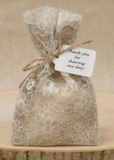 Shabby Chic 1-100 Vintage Hessian & Ivory Lace Wedding Favour Bags Personalised